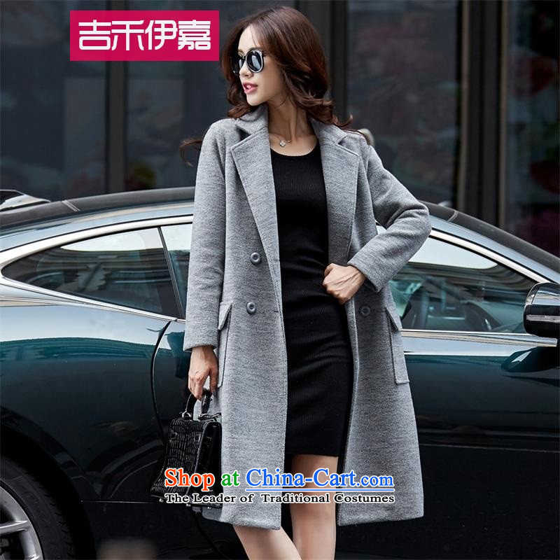 Gil Wo Ika autumn and winter 2015 gross girls jacket? long thick loose large Korean double-sided cashmere a wool coat Sau San gray燲L