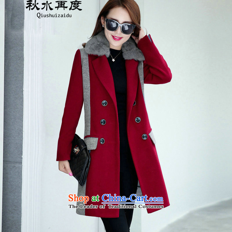 Once again we get gross coats female Sau San video thin temperament collar woolen coat female long with true card rabbit hair for cherry red XL