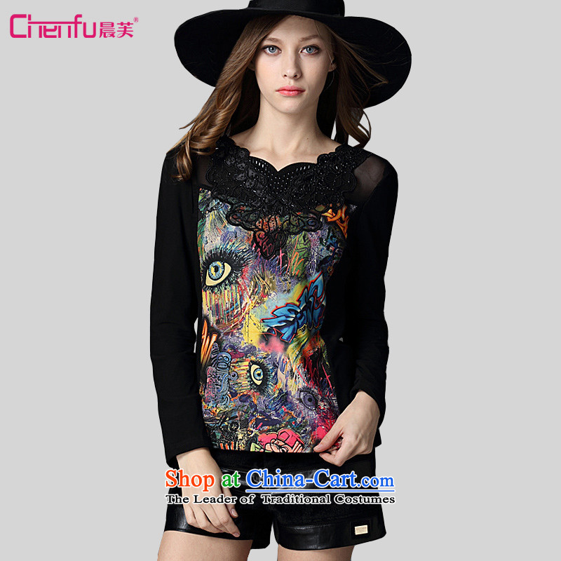 Be 2015 autumn and winter morning large decorated in European and American Girl Who video thin hook flower stitching fashionable individual graffiti ironing drill knocked colors plus black shirt�L_ forming the lint-free recommendations 180-200 catties_