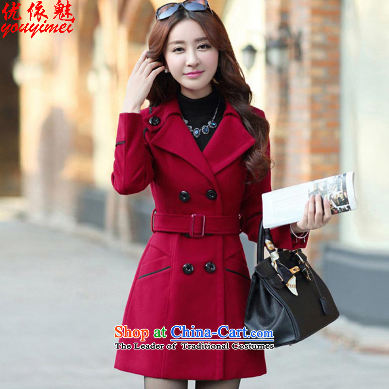 In accordance with the sovereign will optimize jacket coat female autumn and winter 2015_ Women's jacket Choo Won Edition Video thin hair so Sau San coats 8858A female wine red聽L