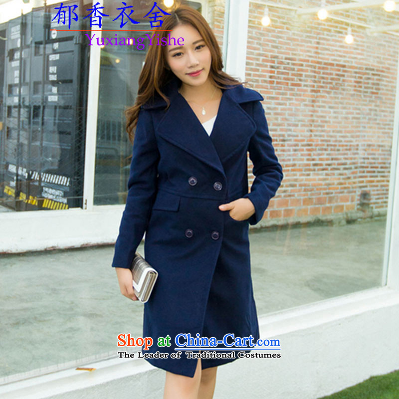 Yu Xiang Yi homes by 2015, Dana history gross? fall/winter coats girl in long double-coats suits for? woolen coat girl S navy blue
