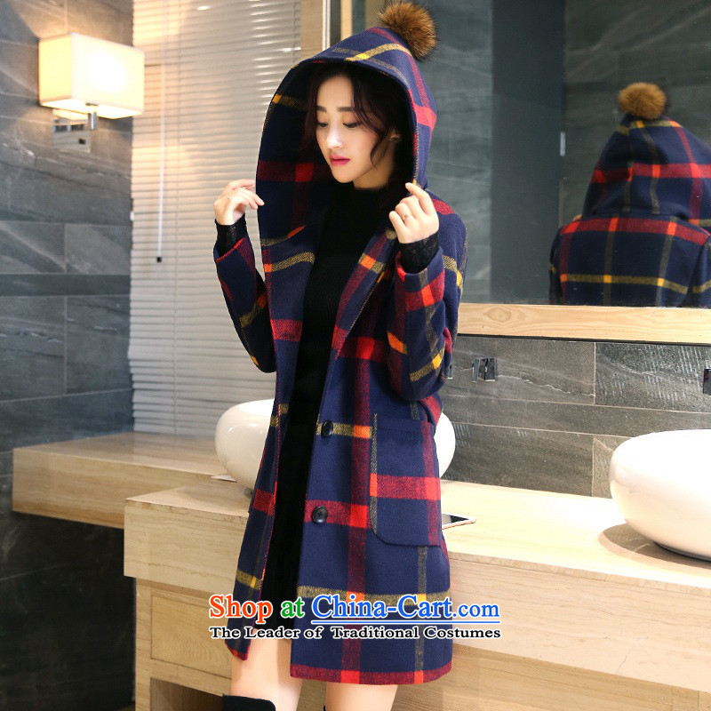 2015 Autumn and winter new Korean version long cap gross Ball Grid Jacket coat? red and yellow,聽L