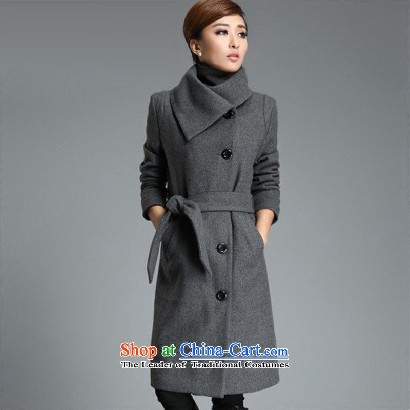 The autumn and winter, in the new version of the long won a deduction of the Sau San temperament wool coat 1111 gray coat? XXL