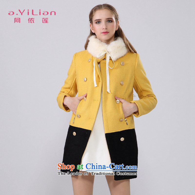 Aida 2015 Winter New Lin is simple and stylish a wool coat knocked color stitching graphics slender gross CA44197418 jacket? TURMERIC燣