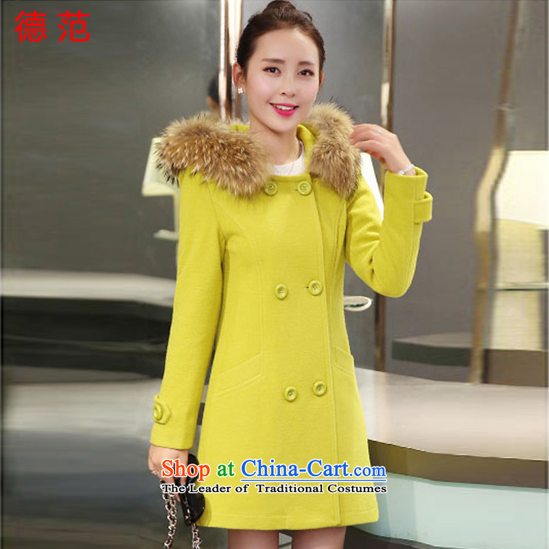 Van de  2015 Fall_Winter Collections women new gross girls jacket? long hair for Sau San double-cap a wool coat female Fluorescent Green M