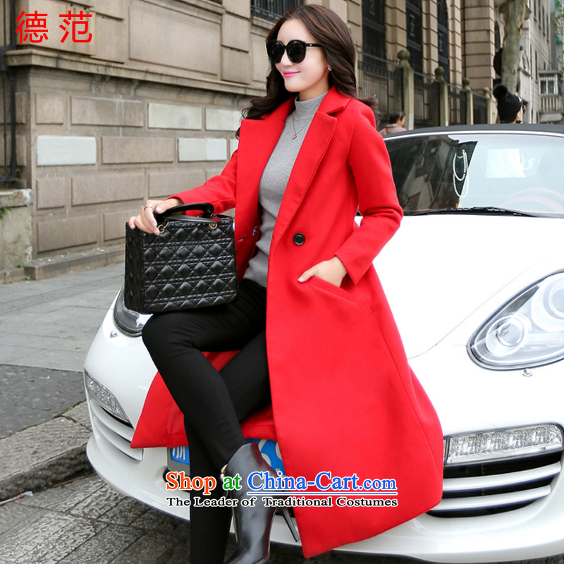 Van de  2015 Fall_Winter Collections female new temperament Sau San long thick a wool coat too long hair? jacket women laptop RED M