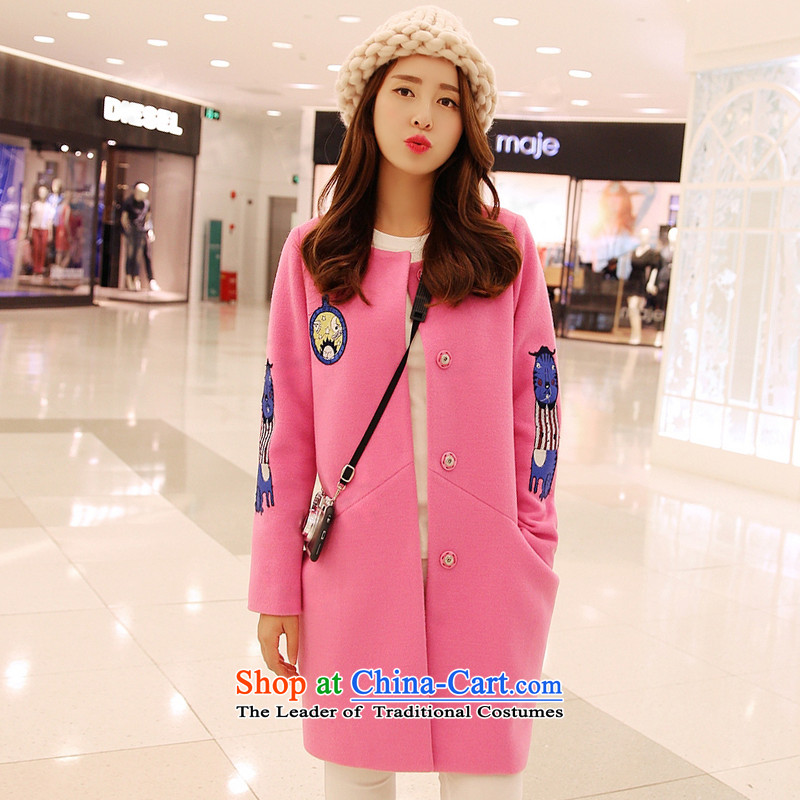 Winter clothing new Korean wool? With a pattern in the long graphics thin a wool coat? 11913?pink?L