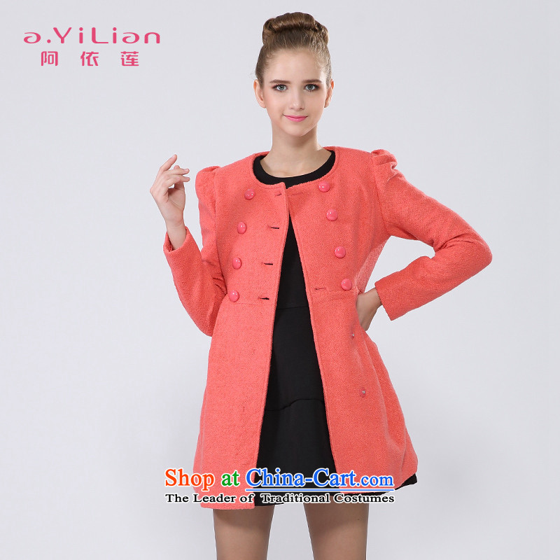 A yi wu 2015 winter clothing New Sau San double-medium to long term, in gross? a long-sleeved jacket wool coat CC24397337 orange M