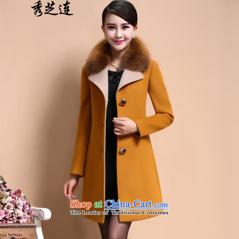 Soo-ji how women�15 autumn and winter coats of ladies fashion for Gross Gross Sau San? female jacket coat 680 Yellow燲L