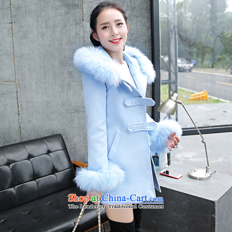 Wooden Geun-hye thin solid color graphics Sau San for long-Nagymaros gross coats female type 8618 skyblue?M_160_84A_