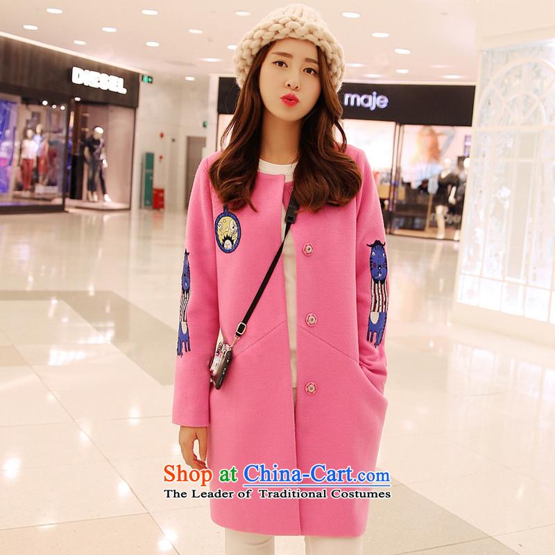 Wooden Geun-hye temperament. Long affixed in gross flows of jacket?   Women Korean 11913 coats pink燣_165_88a_?