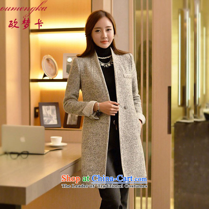 Visit Card Jacket Women 2015 gross? winter for women in Korean long plus   thick hair? coats, lint-free Female Light Gray M
