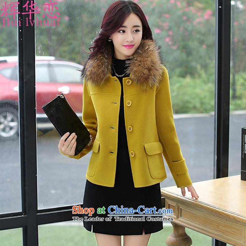 Hui-hua,2015 New Korean short of Sau San temperament coats W8986 gross? No gross for yellowL