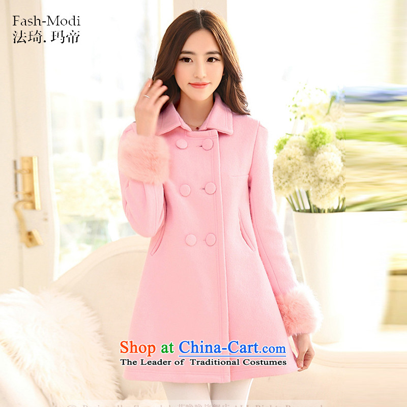 The law was the women's qi 2015 winter new Korean Sau San Foutune of double-long coats gross? female wool a wool coat large stylish coat autumn and winter pink燤
