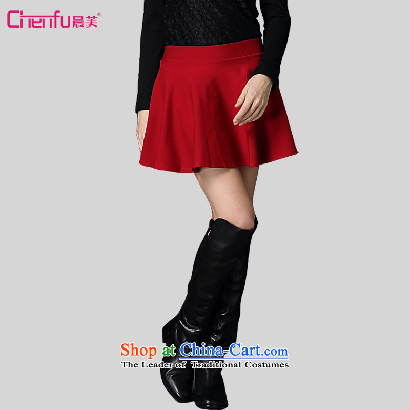 Morning to to increase women's code 2015 autumn and winter new stylish wild minimalist large large body of the European site like Susy Nagle skirt short skirts5XL( elegant red recommendations 180-200 catty)