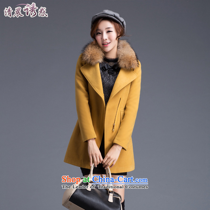 In the early morning of long-sleeved jacket is a temptation Gross Gross coats female Korean? In Long Sau San Korea a wool coat thick autumn and winter female ZYQ1020 YELLOW XXL