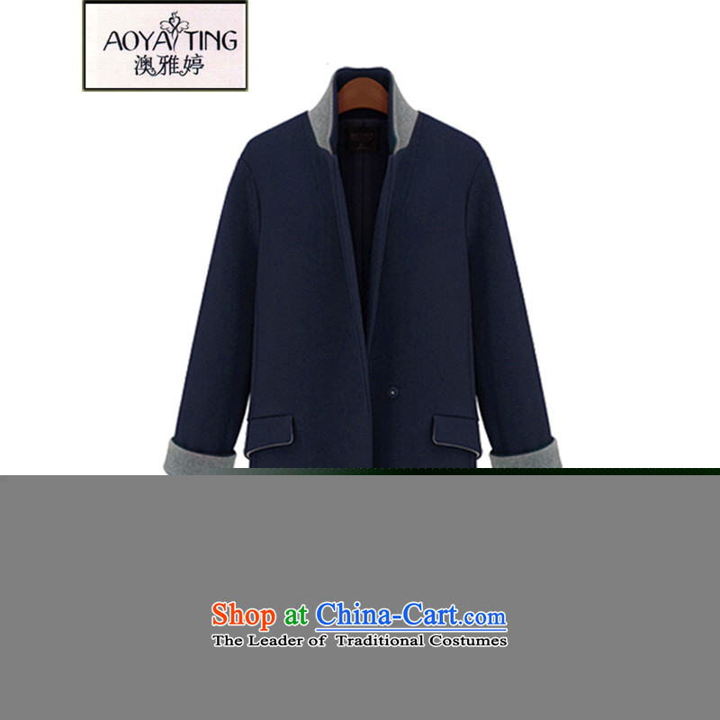 O Ya-ting to increase women's code 2015 autumn and winter new mm thick Korean Sau San a grain of deduction video thin in the long coats female jacket gross? 082 Blue�L 175-200 recommends that you Jin