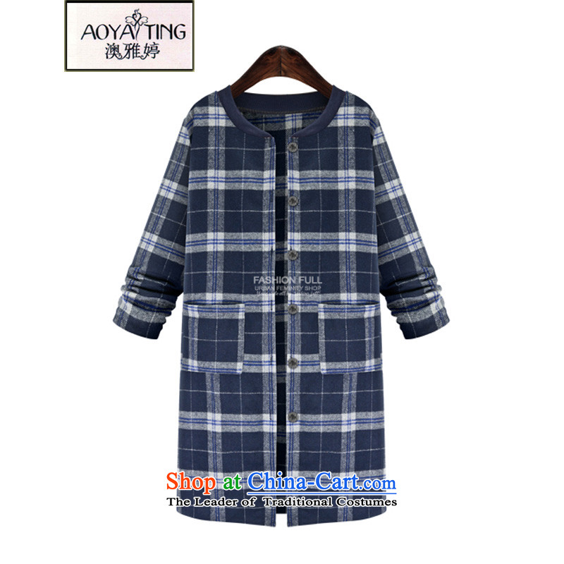 O Ya-ting to increase women's code 2015 autumn and winter new mm thick Korean video folder thin cotton strip coats that long cotton jacket female 1397 blue checked?2XL 125-145 recommends that you Jin
