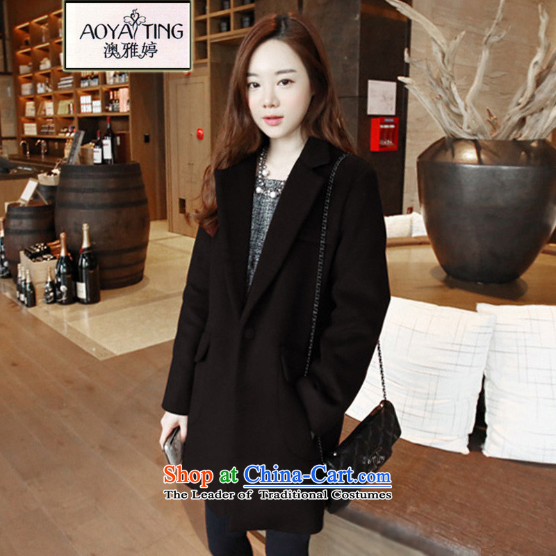 O Ya-ting to increase women's code 2015 autumn and winter new mm thick Korean version plus gross cotton jacket female video thin? In long coats 6229 sub-ni black�L recommends that you 160-180 catty
