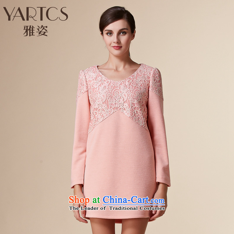 Hazel Western winter clothing dresses female Sau San larger female round-neck collar lace stitching forming the wool skirt pink?4XL