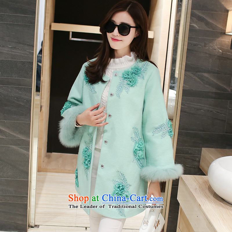 Nokka gross coats female Korean? jacket women 2015 autumn and winter, thick mm fall to intensify the boxed long hair? coat thickness light green XXL