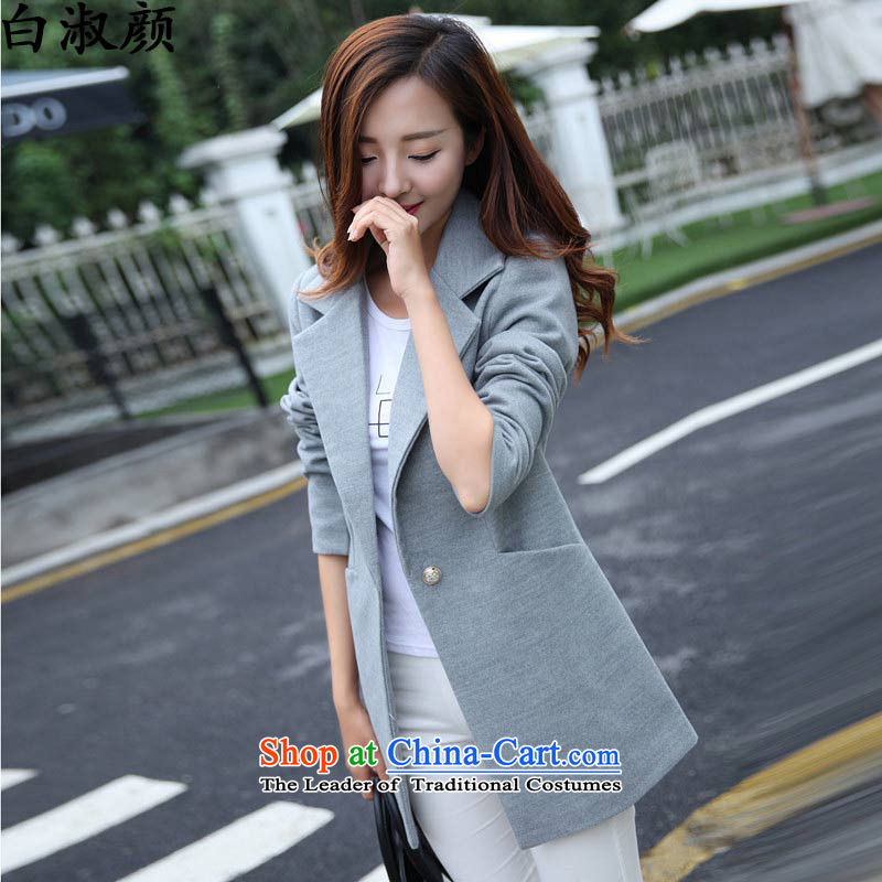 Mrs Ngan 2015 winter of white women's clothes Korean fashion, long hair? female suits for jacket for larger a wool coat light gray聽M