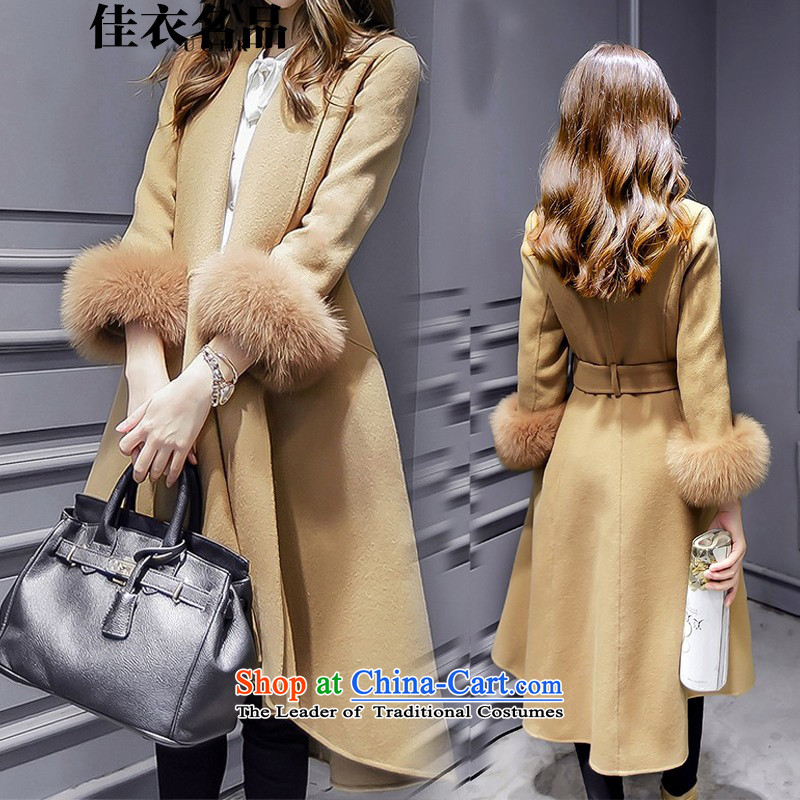 Better, Yi 2015 winter new Korean fashion v-neck autumn and winter coats that? long hair? jacket M8521 Sau San - L
