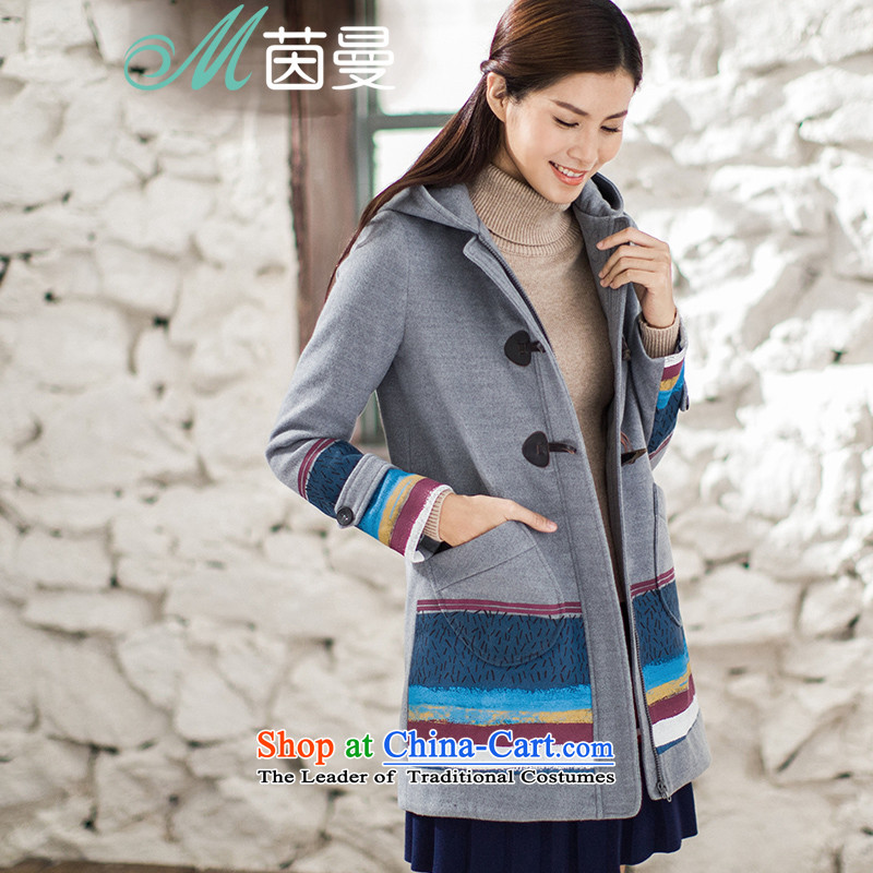 Athena Chu Cayman 2015 winter clothing new arts long coats)?? elections as soon as possible take 8543210097 jacket gray S