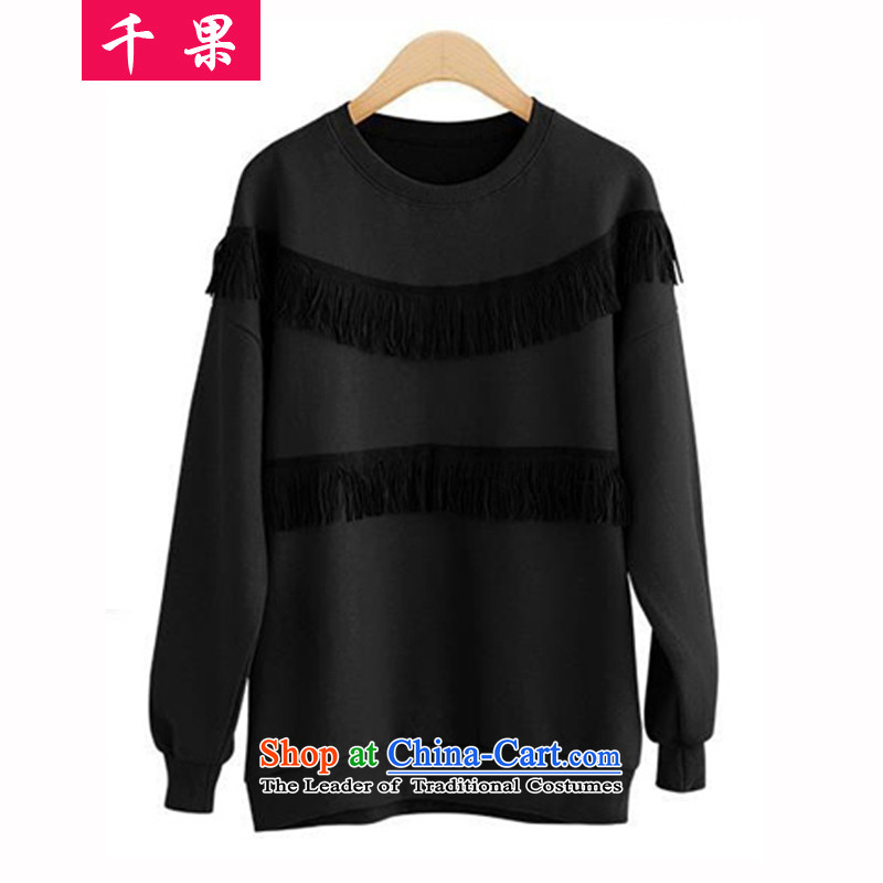 The results of the�15 autumn and winter new larger women wear shirts thick mm long-sleeved stream boxed autumn su shirt to intensify the thick sister sweater loose in the black�L