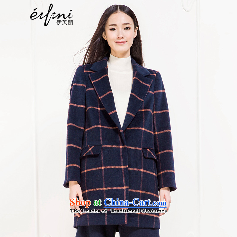 Of the 2015 winter clothing new Lai Plaid in Long Hair Girl woolen coats?? 6581117871 coats navy blue?M