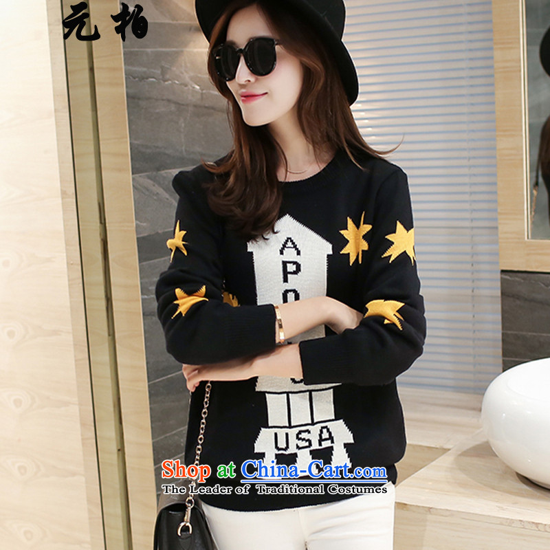 In Pak larger female sweater T-shirts with the new 2015 fall thick MM THIN knocked color graphics sweater, forming the Netherlands Black 2572 5XL around 922.747 180-200