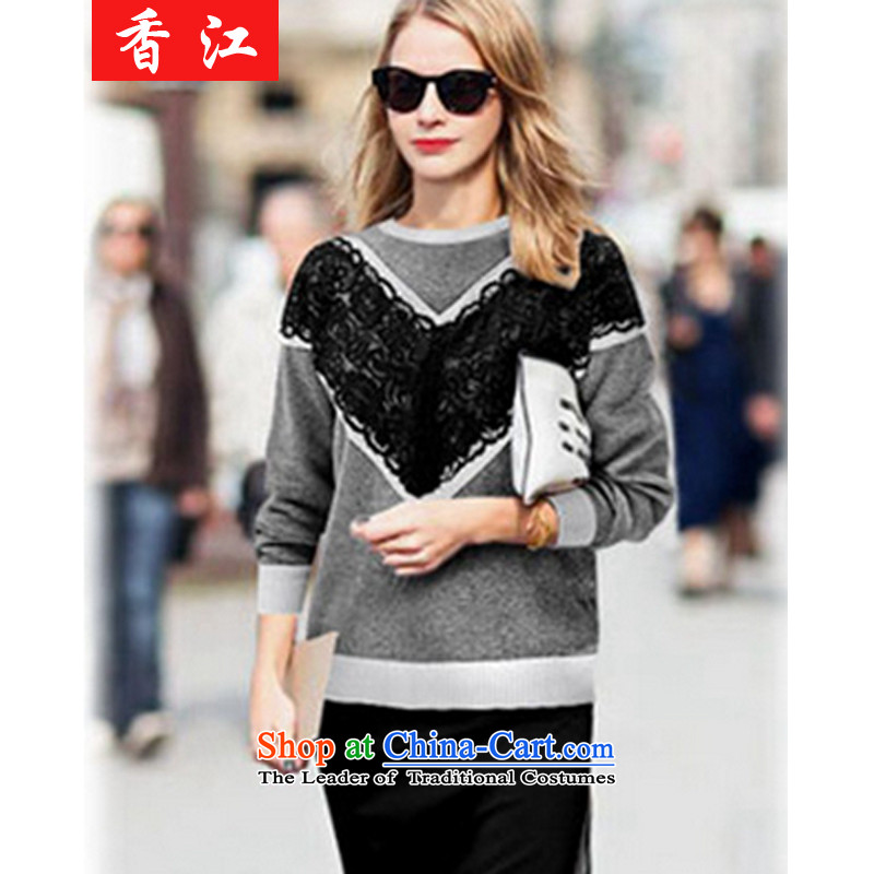 Xiang Jiang to intensify the 2015 autumn and winter large new women's long-sleeved shirt, forming the thick mm thick sister in long thin knitwear sweater graphics B136 5XL large carbon