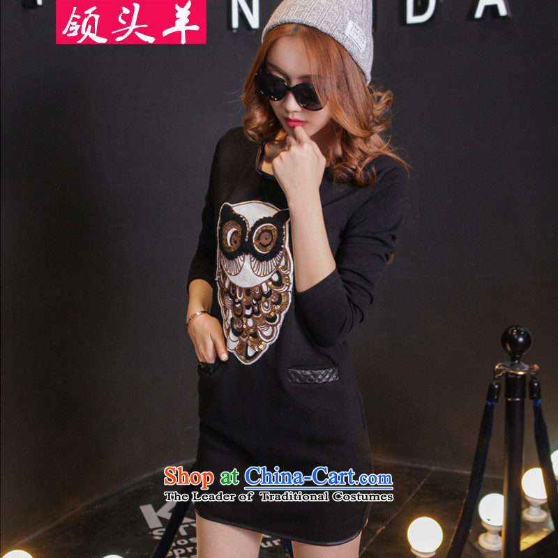 Leader in the autumn and winter 2015 large western new women to increase wear long-sleeved shirt thick MM embroidery owl plus lint-free thick female black skirt 3XL recommendations 140-160 characters catty