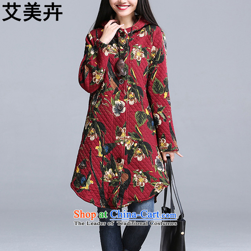 Amy Hui聽2015 autumn and winter new Korean version of national women's large wind in long cotton loose stamp folder with cap cotton coat jacket聽US_ 92.9聽Red聽L