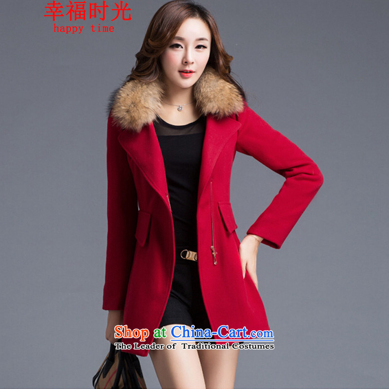 Happy Times _??????_ 2015 autumn and winter new women's new Sau San warm large stylish cashmere overcoat jacket gross temperament? large red燲L