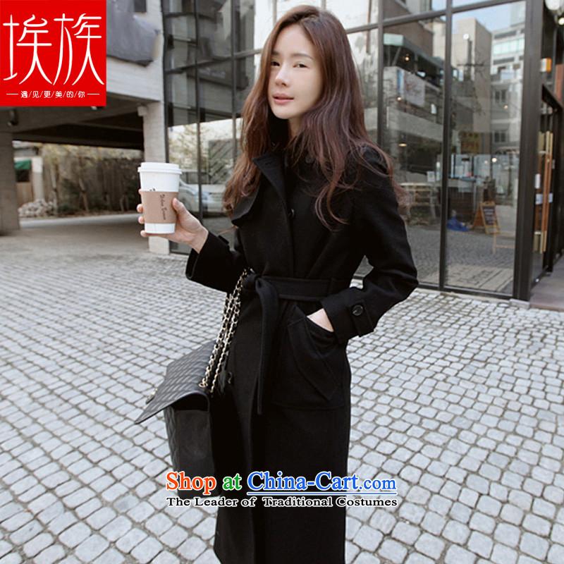 Egyptian wool coat girl child?? Korean jacket, long winter 2015 newhigh-end quality of PUERTORRICANS black_