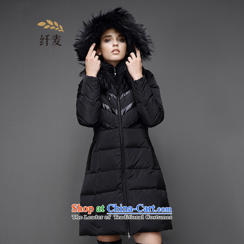 The former Yugoslavia mecca for larger women 2015 winter thick mm thick in Sau San long coats?854121721 Feather _?Black?5XL