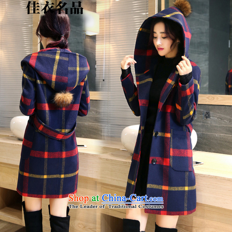 Better, Yi  2015 autumn and winter new products college in style long hair? jacket W8559 red and yellow grid XXL