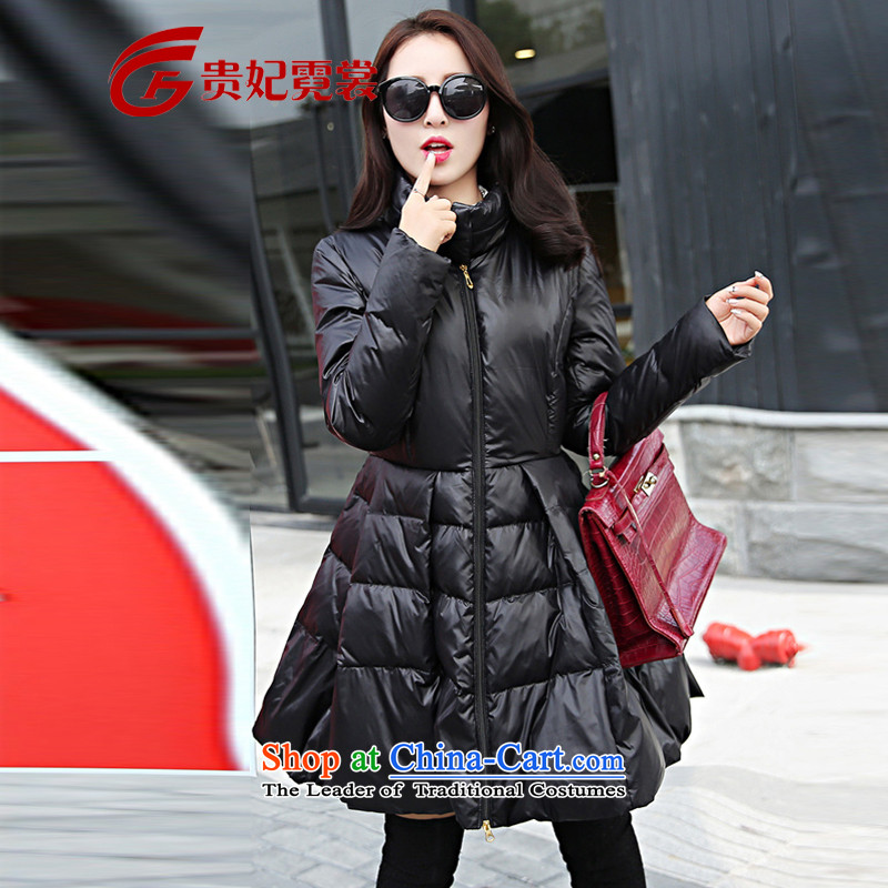 Gwi Tysan 2015 winter clothing new Korean women's extra-thick mm stylish Feather _ Graphics thin to xl downcoat female black 5XL 212-326-7096