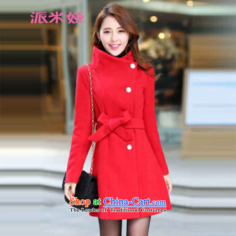 Send Dispatch Mia Hamm 2015 autumn and winter new Korean Sau San a wool coat in long Foutune of gross? overcoat RED聽M