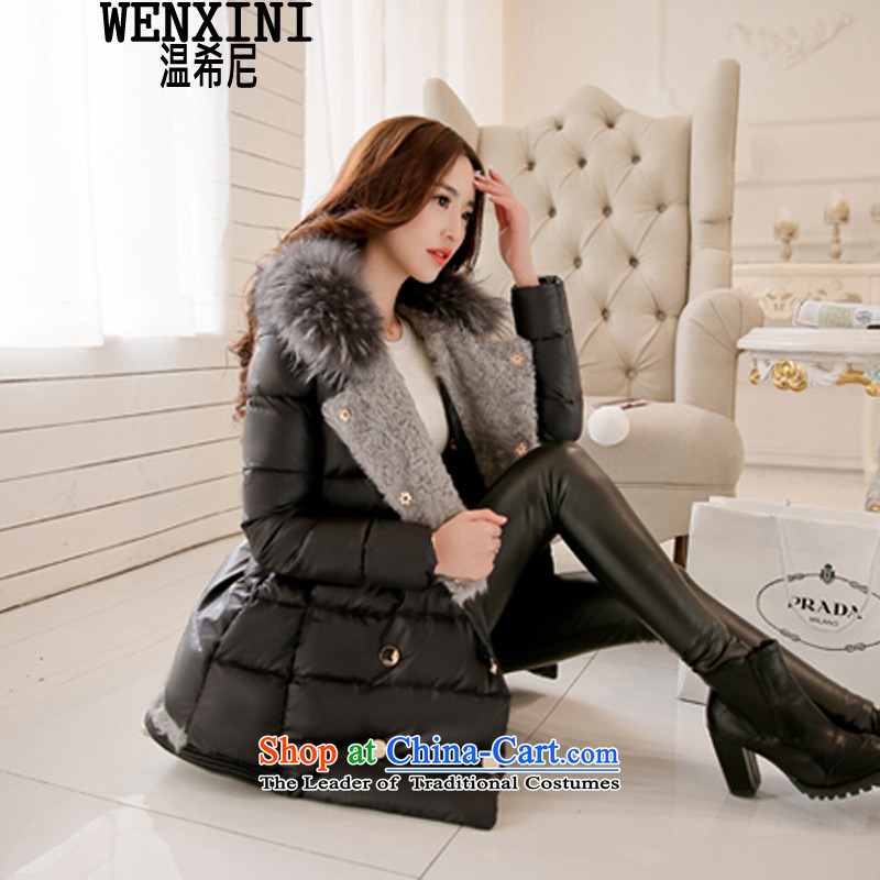The temperature of the Greek women on the new large winter really gross for emulation down the girl in long Korean thick increase to large FAT MM down cotton coat autumn and winter goddess of black M