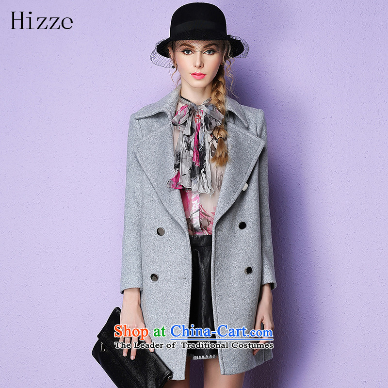 Gross? female jacket HIZZE autumn and winter female 2015 new European site long coats)? PRESIDENT classic gross? coats female Gray L