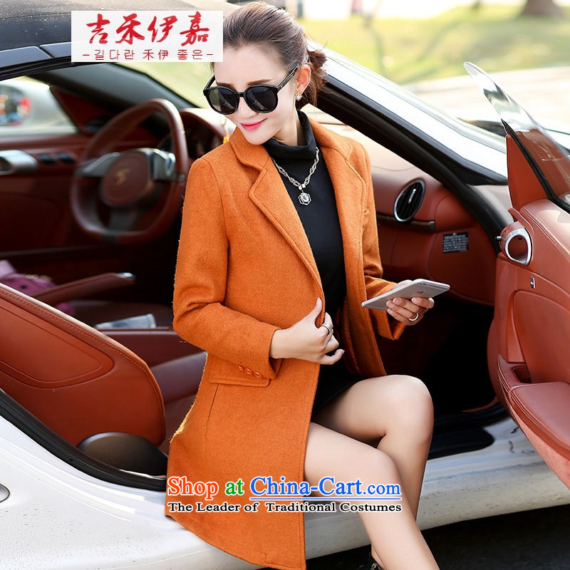 Gil Wo Ika 2015 winter long Korean pure color long-sleeved new commuter coats children who decorated? What gross jacket orange燲L