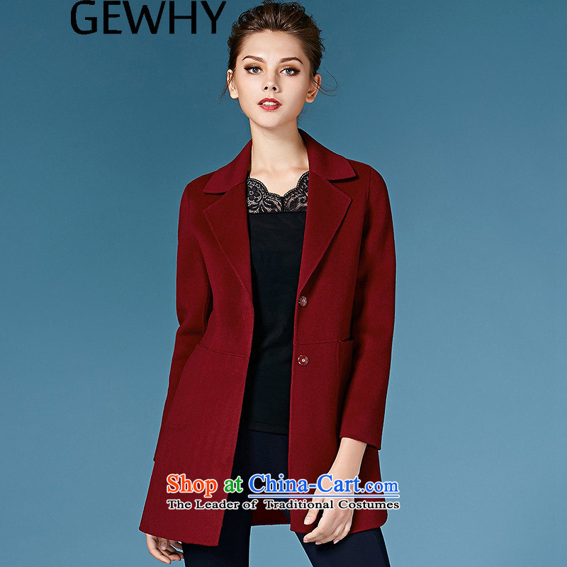 Gewhy 2015 autumn and winter new products non-duplexing cashmere overcoat female hair?? in Europe and the long overcoat so gross coats female dark red燣