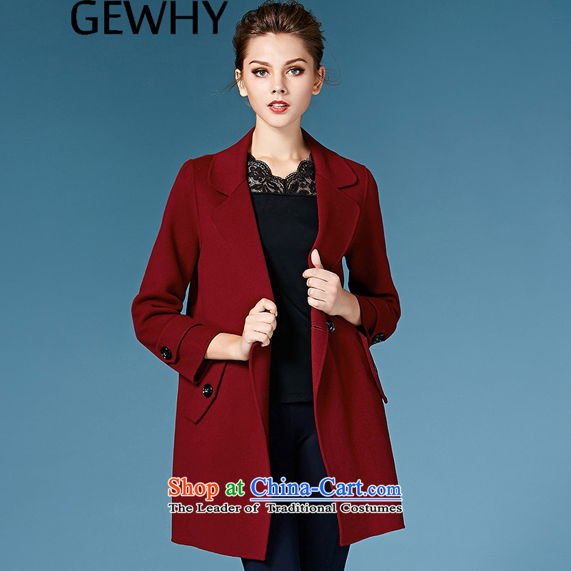 2015 Autumn and winter GEWHY new non-duplexing cashmere overcoat female hair? jacket�8089爓ine red燣