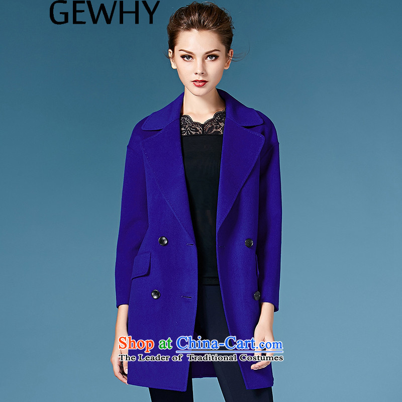 2015 Autumn and winter GEWHY new non-duplexing cashmere overcoat jacket in gross? long hair? coats female western sapphire blue燣