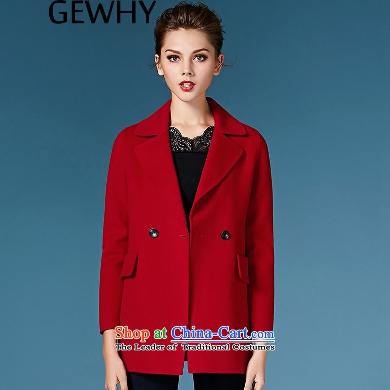 2015 Autumn and winter GEWHY new non-duplexing cashmere overcoat female hair? female 158038 coats of red L