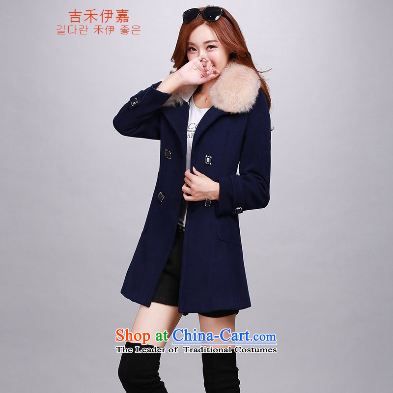 Gil Wo Ika gross? Version Korean female jacket long winter for women a wool coat girl with gross collar navy plus cotton燤