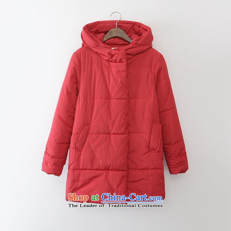 2015 mm thick sister thick autumn and winter load large foreign trade with Europe and cotton, cotton coat extra 200 catties red jacket聽4XL