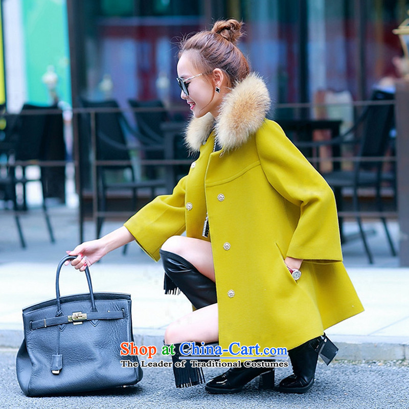 Sin has been?loaded for autumn and winter 2015 Korean female new products? What gross winter coats sub-Nagymaros case for women in the gross? jacket long yellow?        M